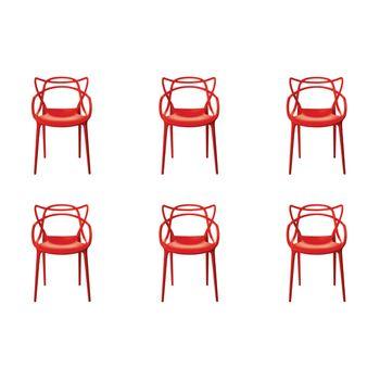Kit 6 peças Cadeira Allegra Masters de Polipropileno Rivatti