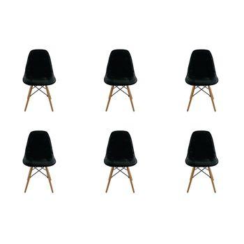 Conjunto 6 peças Cadeira Eames Eiffel Rivatti sem braço Botonê