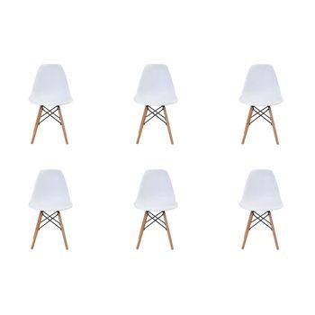 Kit 6 peças Cadeira Eames Eiffel Rivatti sem braço PP Base Madeira