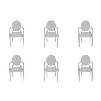 Kit 6 peças Cadeira Ghost Sofia Rivatti com braço