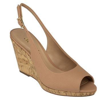 Anabela Peep Toe Sling Back Floater Antico
