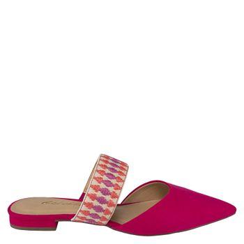 Mule Flat Arco Colors Suede Hibisco