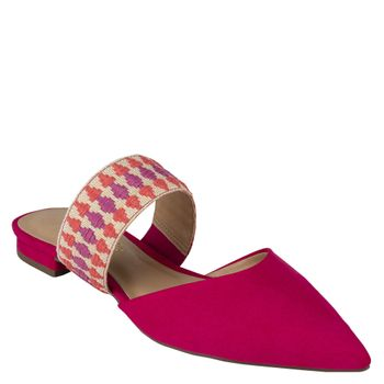 Mule Flat Arco Colors Suede Hibisco
