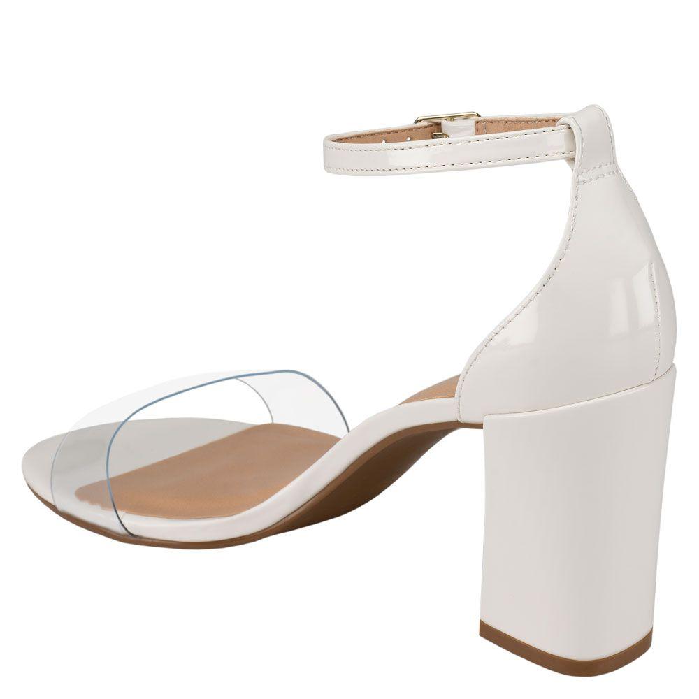 Sandália Salto Grosso Vinil Verniz Bianco
