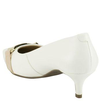 Scarpin Bico Fino Metal Branco