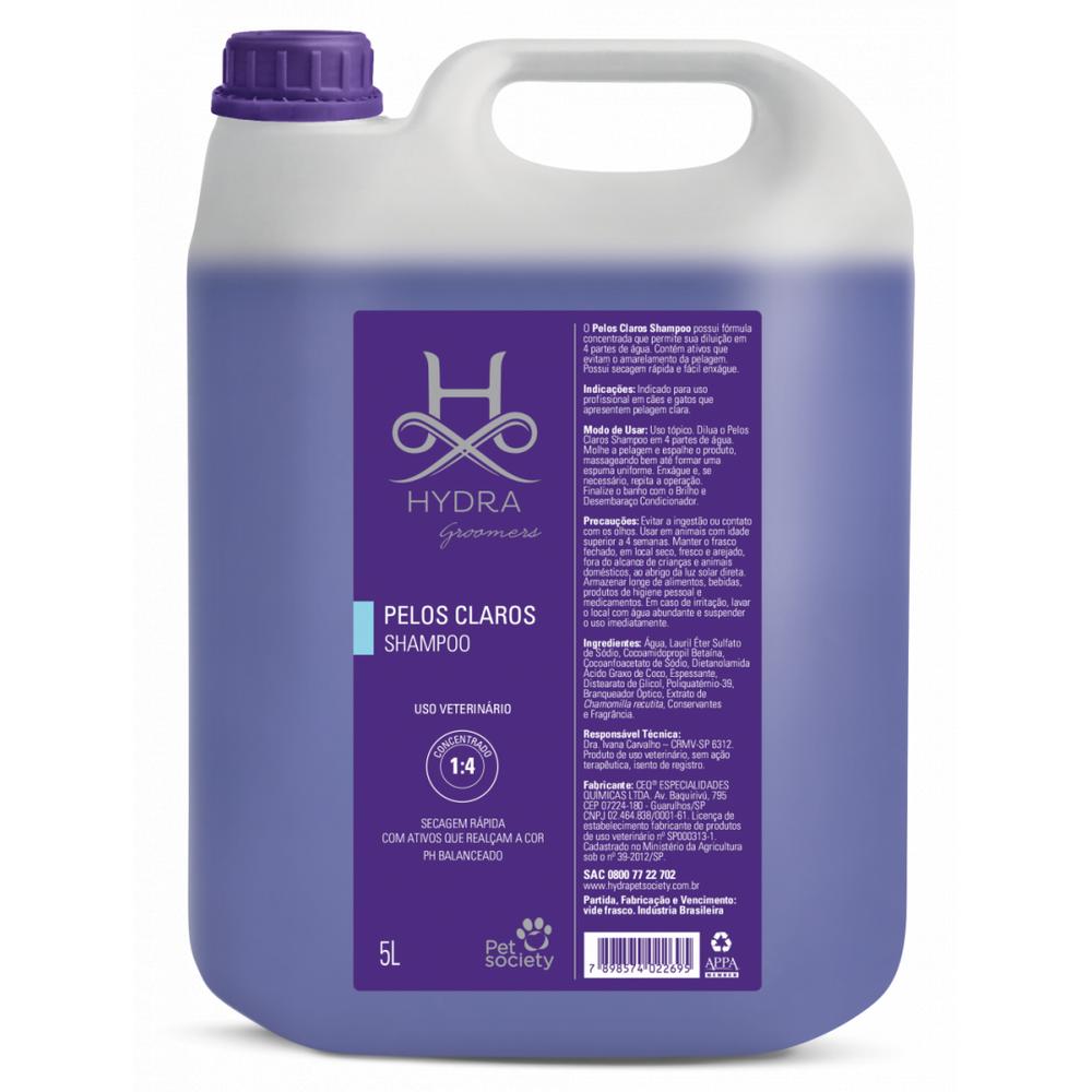 Shampoo Pelos Claros Hydra Pet Society 5L 1:4