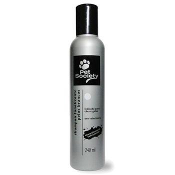Shampoo Tonalizante Pet Society Cães e Gatos Pelos Brancos 240ml