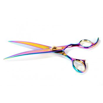 Tesoura Curva 7.5'' Multicolor Titanium Comfort Groom