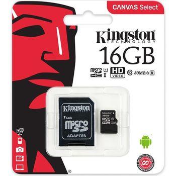 Cartão de Memória Kingston 16GB Micro SDHC CanvasSelect+Adaptador Cartão SD - SDCS/16GB