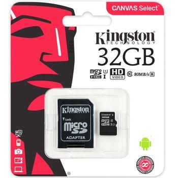 Cartão de Memória Kingston 32GB Micro SDHC CanvasSelect+Adaptador Cartão SD - SDCS/32GB