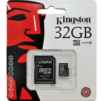 Cartão de Memória Kingston 32GB Micro SDHC I Classe 10 + Adaptador Cartão SD - SDC10/32