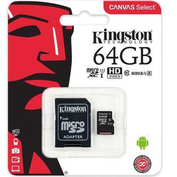 Cartão de Memória Kingston 64GB Micro SDHC CanvasSelect+Adaptador Cartão SD - SDCS/64GB