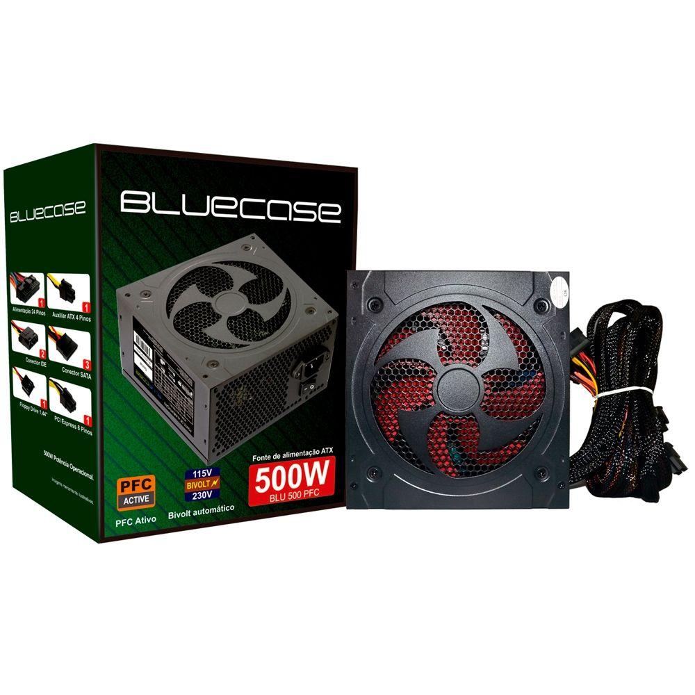 Fonte BlueCase 500W PFC Ativo - BLU500GPCASE