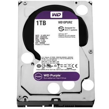 HD Western Digital WD Purple Surveillance 1TB 64MB Cache 5400RPM Sata III - WD10PURZ