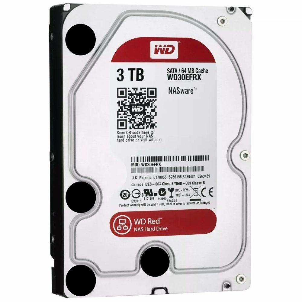HD Western Digital WD Red NAS 3TB 64MB Cache 5400RPM Sata 3 - WD30EFRX