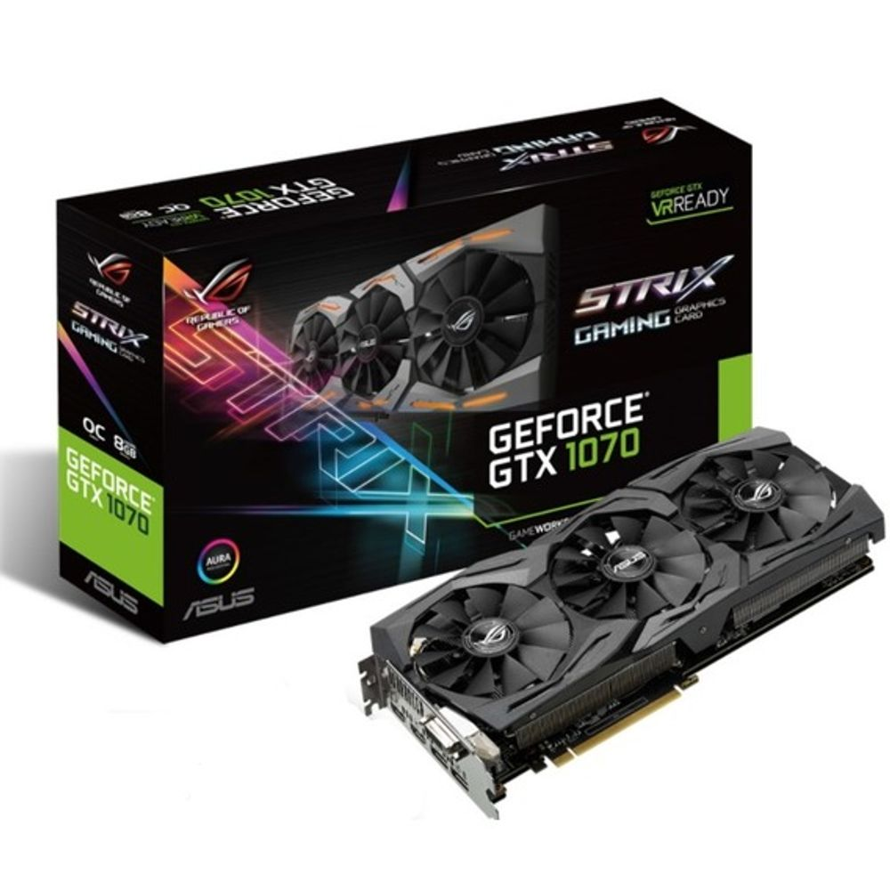 Placa de Vídeo Asus GeForce GTX 1070 8GB GDDR5 ROG Strix Aura - STRIX-GTX1070-O8G-GAMING