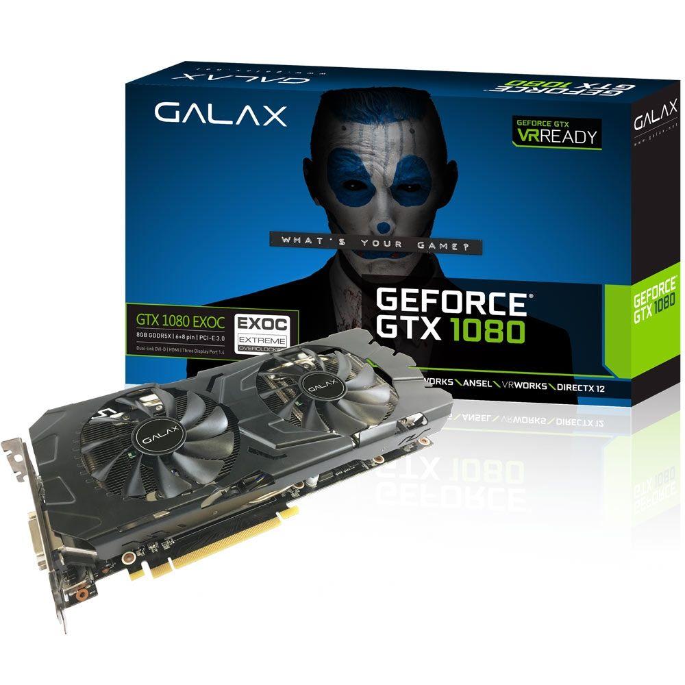 Placa de Vídeo Galax GeForce GTX 1080 8GB GDDR5X EXOC - 80NSJ6DHL4EC