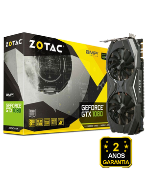 Placa de Vídeo Zotac GeForce GTX 1080 AMP Edition 8GB GDDR5X 256-bit - ZT-P10800C-10P