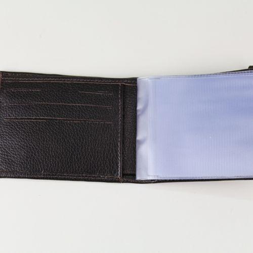 Carteira masculina de couro com elástico