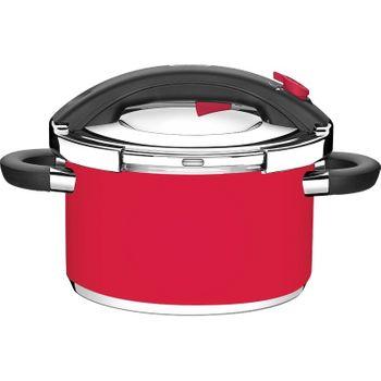 Panela de Pressão Inox Vermelha Ø24Cm 6 Litros Presto Tramontina
