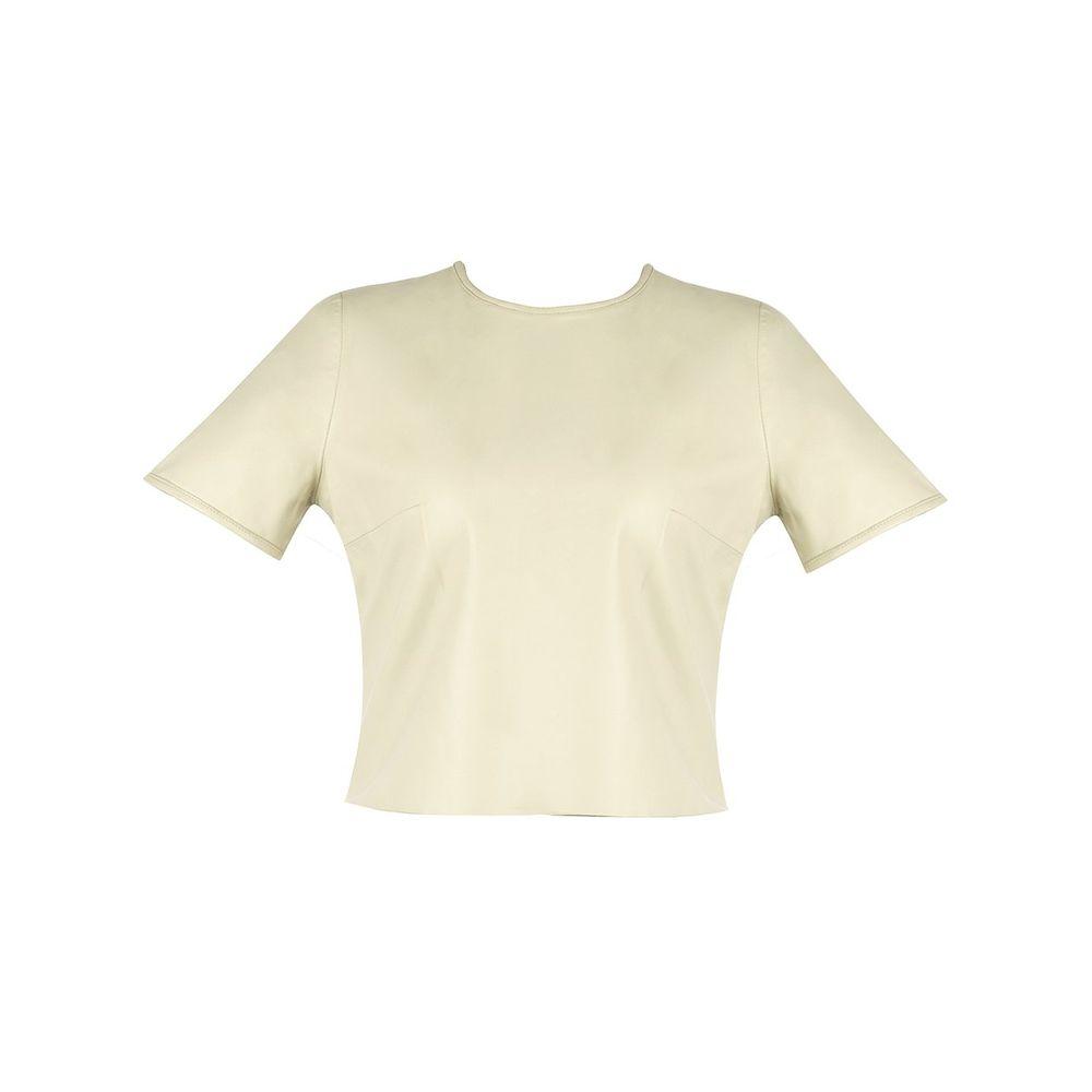 Blusa Cropped em Couro Cru - Liziane Richter