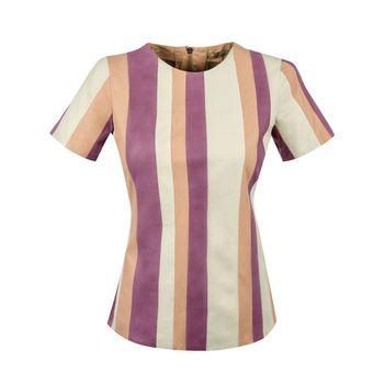 Camiseta em Couro Listrada- Liziane Richter
