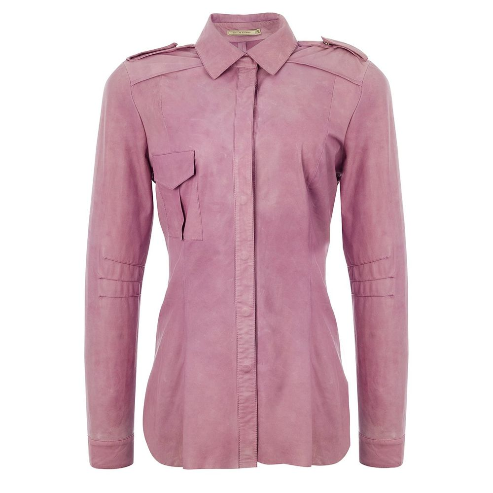 Camisa Lisa Toda em Couro- Liziane Richter
