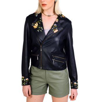 Jaqueta de Couro Perfecto Bordada Floral - Liziane Richter