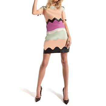 Vestido em Couro com Mangas e Recortes Assimétricos -mila+