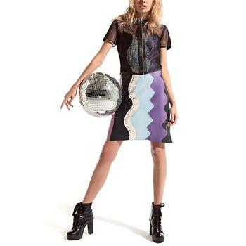 Vestido em Couro com Recortes Assimétricos - Mila+