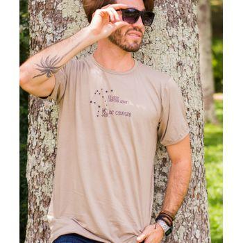 Camiseta Unisex Gola Viés - mínimo 12 unidades Areia Nozes